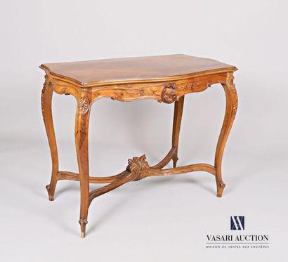 Table de milieu en bois naturel mouluré,...
