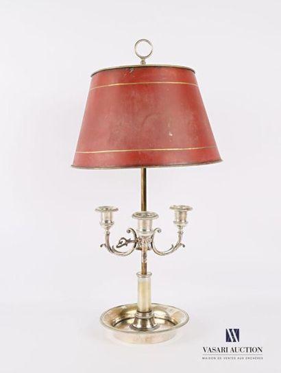 Lampe bouillotte en métal argenté posant...