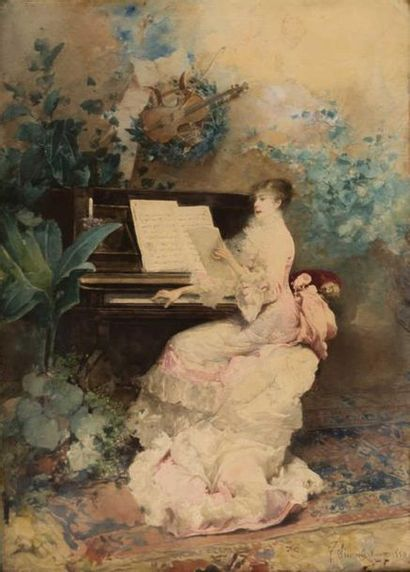 SIMONI Gustavo (1846-1926) Élégante au piano...