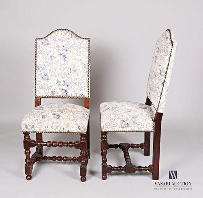 Paire de chaises en bois mouluré et tourné,...