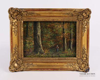 DE PIGNON (XXème siècle) Promeneuse en forêt...