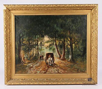 GABET La calèche en forêt Huile sur toile...