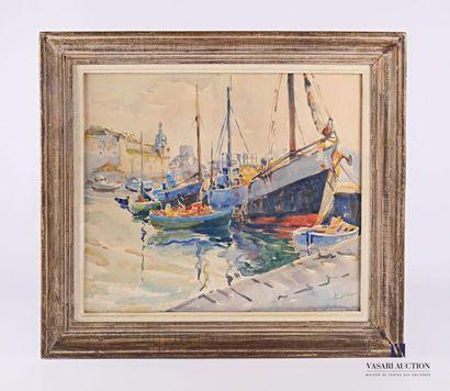 REEB Eugène (1907-1992) Chalutiers amarrés...