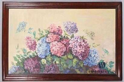 MARTIAL J.F. Bouquet d'Hortensias Huile sur...