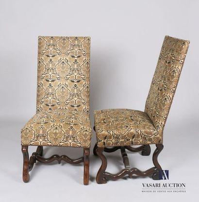 Paire de chaises en bois naturel, le dossier...