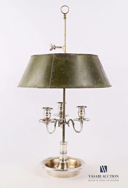 Lampe bouillotte en métal argenté à trois...