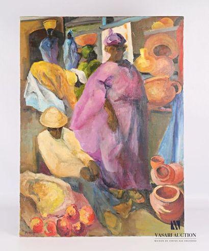 WACQUIEZ Henri (1907-?) Scène de marché au...