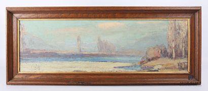CALES Pierre (1870-1961) Vue du bords de...