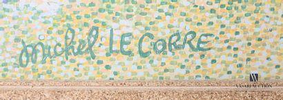 LE CORRE Michel (né en 1950) Vue de falaises normandes Huile sur toile Signée en...