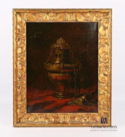 LECLERCQ E. (XIXème siècle) Encensoir sur...