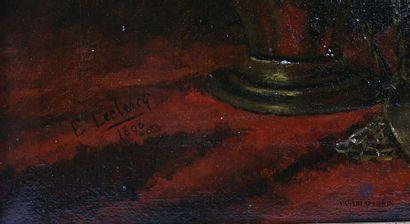 LECLERCQ E. (XIXème siècle) Encensoir sur drapé rouge Huile sur toile Signée et...