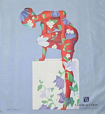 DIAZ Andrès (né en 1961) Femme aux fleurs...