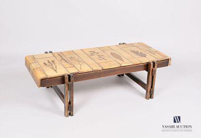 CAPRON Table basse, le plateau en carreaux...