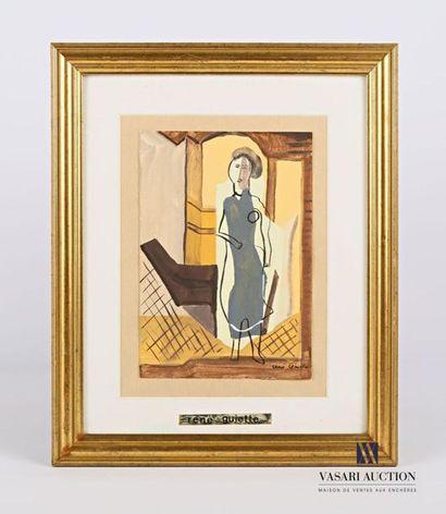 GUIETTE René (1893-1976) Femme debout Gouache...