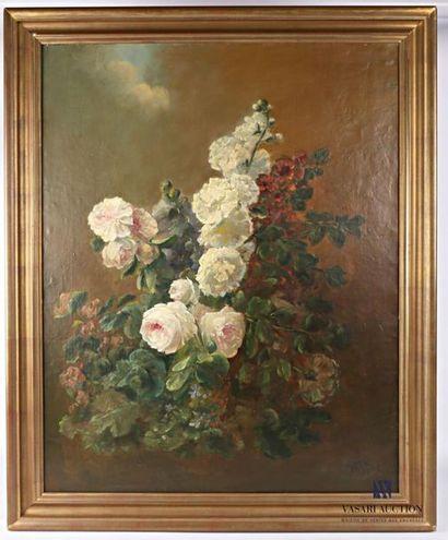 PETIT J Bouquet de fleurs Huile sur toile...