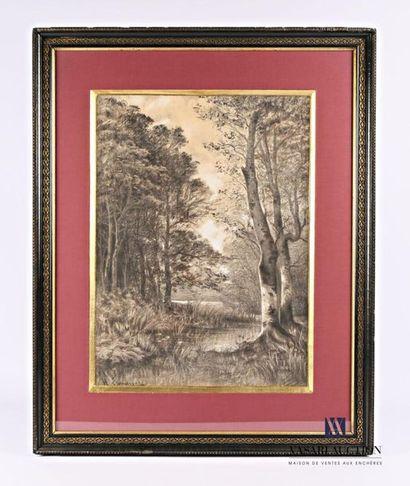 LAMARQUE H. (XIX-XXème siècle) Paysage lacustre...
