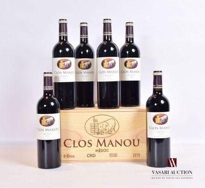 6 bouteillesCLOS MANOUMédoc2015 Présentation...