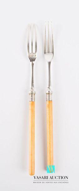 Paire de fourchettes de service, le manche...