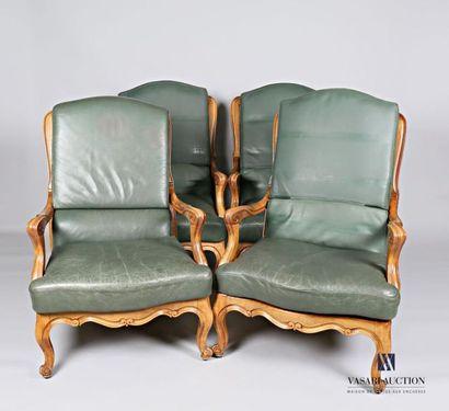 Suite de quatre fauteuils en bois naturel,...
