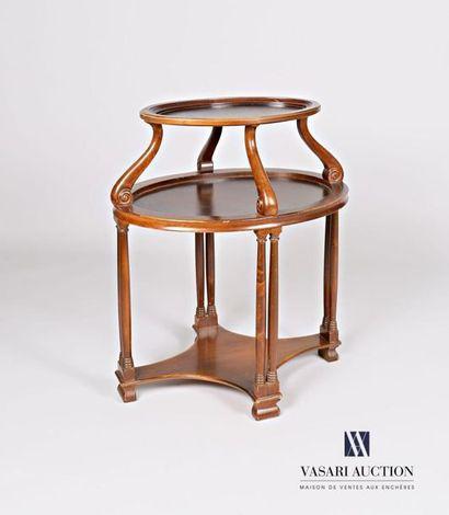 Table à thé en bois naturel mouluré et teinté...