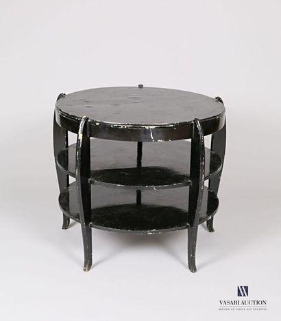 Table basse de forme ronde en bois laqué...