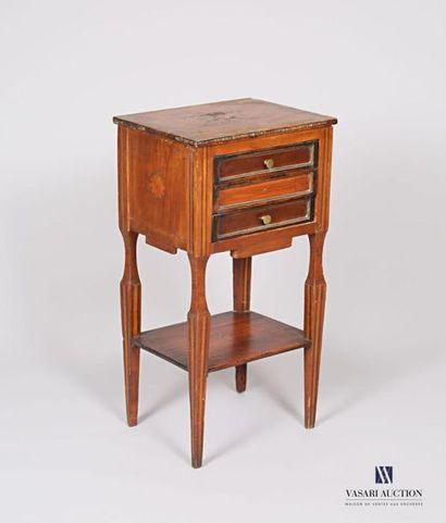 Table de chevet en bois et placage de bois,...