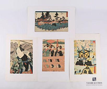 JAPON Lot comprenant quatre estampes japonaises...