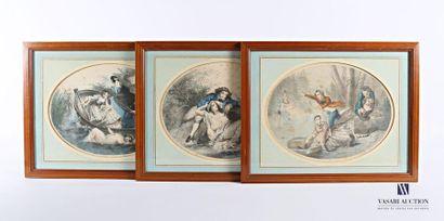 Lot de trois lithographies polychromes à...
