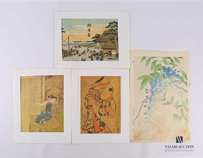 JAPON Lot comprenant deux estampes et deux...