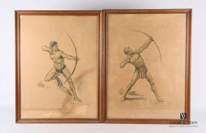 ORDNER Paul (1900-1969) Archers Paire de...