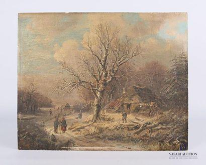 Ecole du nord du XIXème siècle Paysage sous...
