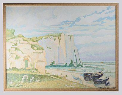 LE CORRE Michel (né en 1950) Vue de falaises...