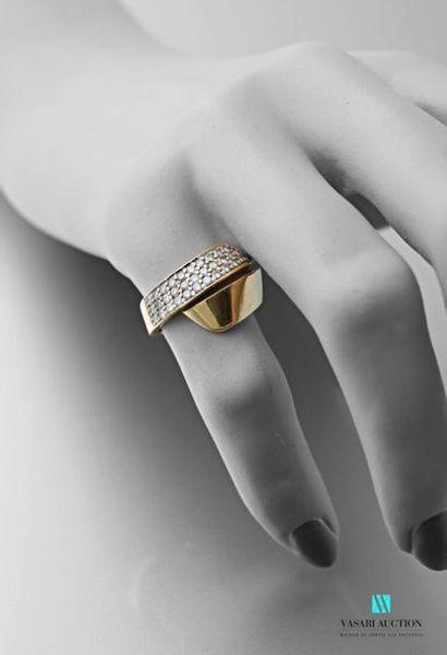 Bague croisée en or jaune 750 millièmes,...