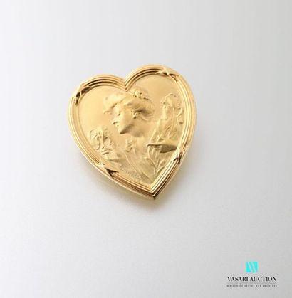 Broche 1900 cordiforme en or jaune 750 millièmes...
