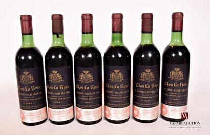 6 bouteillesCLOS LA ROSESt Emilion GC1964...