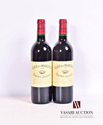 2 bouteillesCLOS DU MARQUISSt Julien 1995...