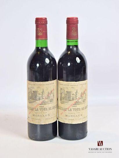2 bouteillesChâteau LA TOUR DE MONSMargaux1982...