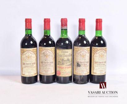 Lot de 5 bouteilles comprenant : 4 bouteillesChâteau...