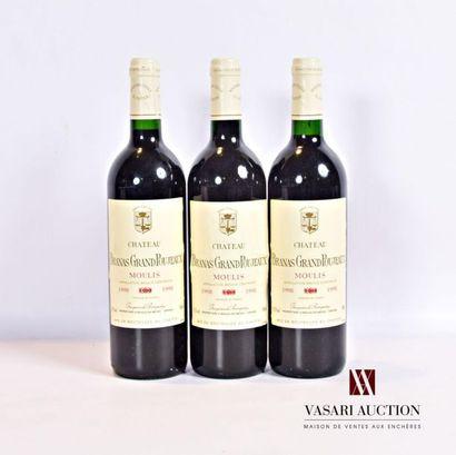 3 bouteillesChâteau BRANAS GRAND POUJEAUXMoulis1998...