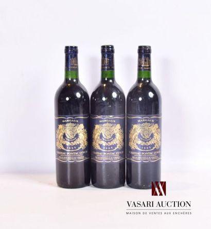 3 bouteillesChâteau PONTAC LYNCHMargaux1995...