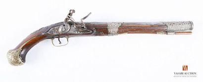Pistolet à silex, canon ouvragé de 32 cm,...