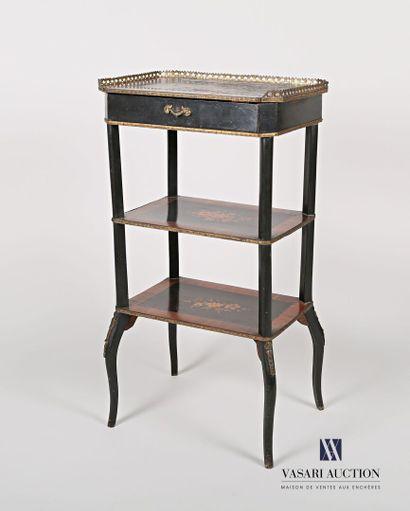 Table d'appoint en bois noirci et bois de...