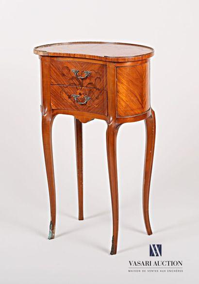 Table rognon en bois naturel et placage de...