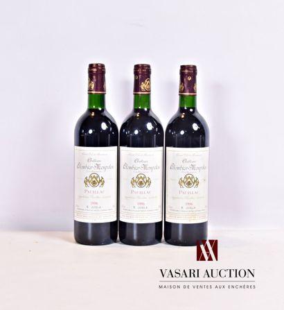 3 bouteillesChâteau COLOMBIER-MONPELOUPauillac1996...