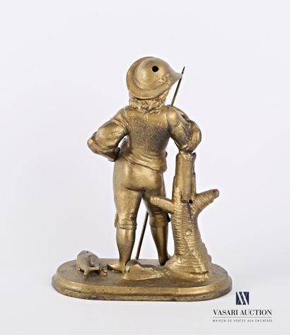 Sujet en régule à patine redoré représentant un pêcheur accoudé sur une souche  (usures,...
