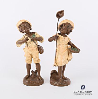 MOREAU Auguste (1831-1893) d'après  Enfants pêcheurs  Paire de sujets en régule...