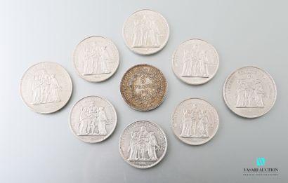 Lot de pièces en argent comprenant une pièce...
