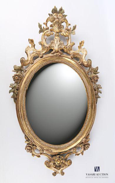 Miroir à vue ovale en bois naturel mouluré,...