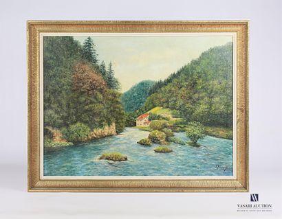 FOURQUIN J.(XXème siècle)  Maison en bord...
