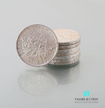 Lot de cinq pièces en argent de 5 francs,...